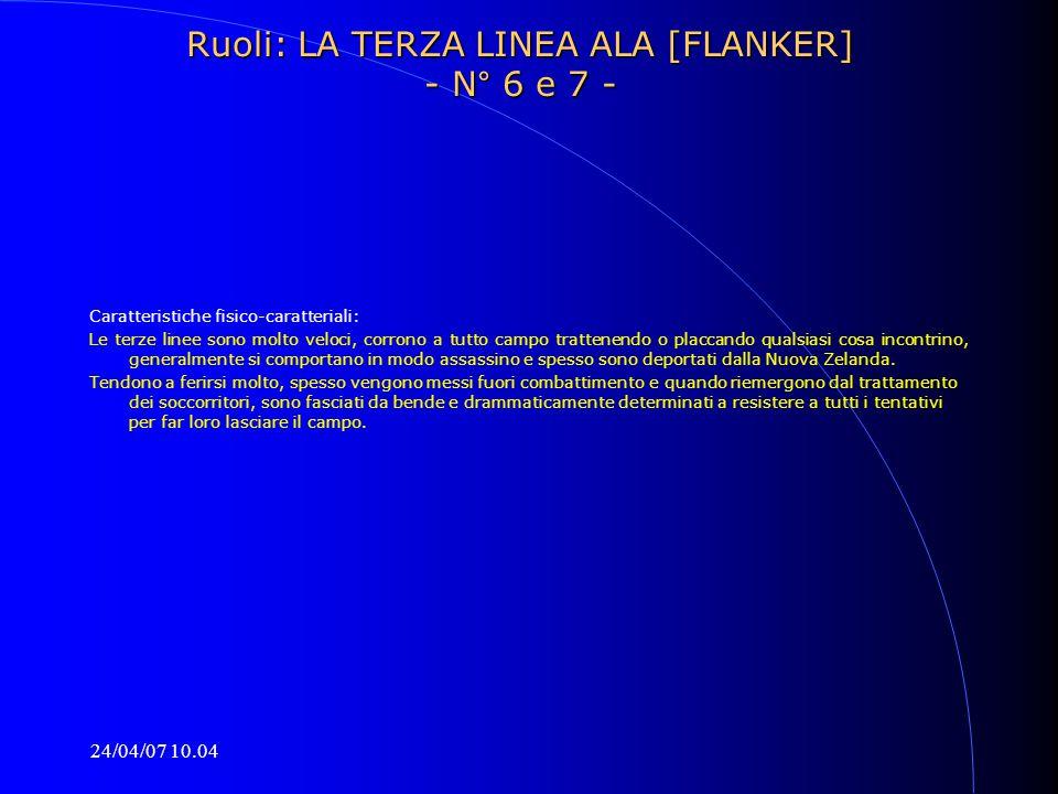 Ruoli: LA TERZA LINEA ALA [FLANKER] - N° 6 e 7 -